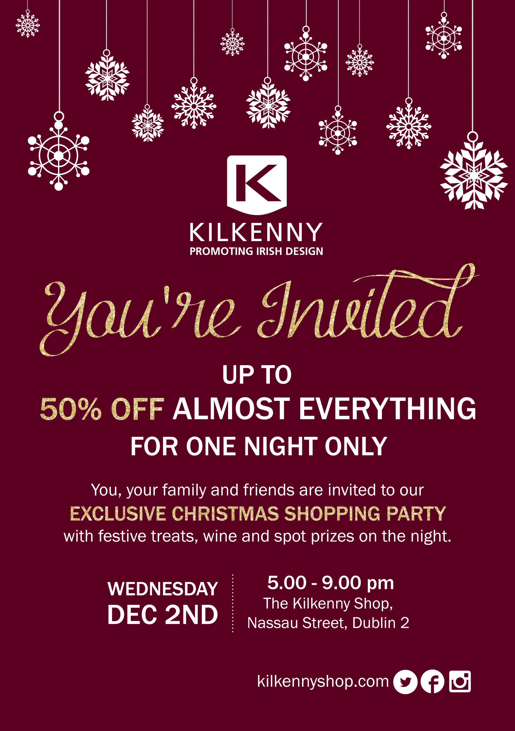 Kilkenny design exclusive 50% off evening
